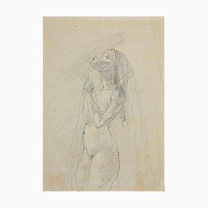 Sconosciuto, Nudo di donna, Disegno a matita originale, inizio XX secolo