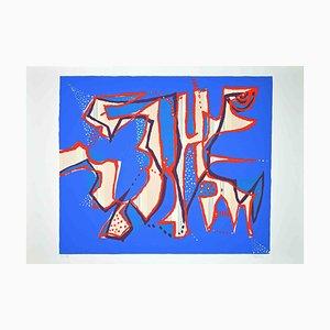 Wladimiro Tulli, Komposition in Blau, Original Siebdruck, 1970er