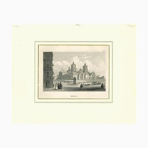 Unknown, Ancient View of Mexico City, Original Lithograph, Early 19th Century