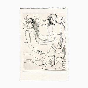 Unknown, Women in the Wind, Acquaforte originale e puntasecca, metà XX secolo