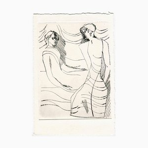 Unknown, Women in the Wind, Original Etching and Drypoint, Mid-20th Century