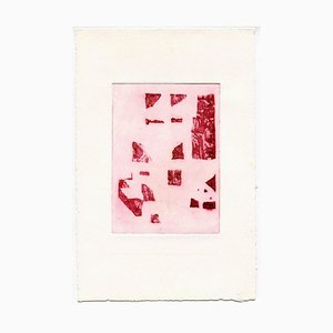 Unknown, Composition in Red, Original Etching and Drypoint, Mid-20th Century