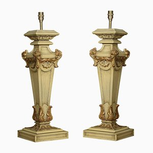 Carved Painted Table Lamps, Set of 2