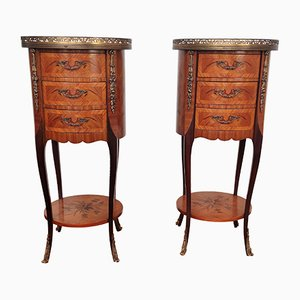 Italian Antique Marquetry Walnut Nightstands Tables, Set of 2