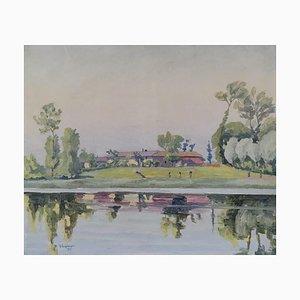 A. Augsburger, Paysage au bord du lac, 1927