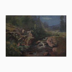 Louis Rheiner, Berglandschaft am Bach, 1900