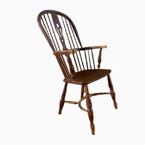 Antique Elm Wheelback Windsor Armchair
