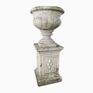Urna de jardín victoriana antigua de piedra, década de 1860