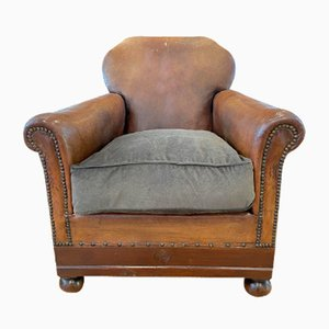 Antique French Cloud-Back Studded Club Armchair in Conker Leather