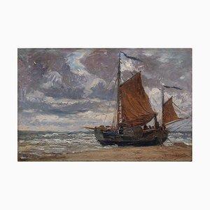 British School, Coastal Scene with Sailboat