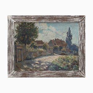 Scuola tedesca, paesaggio impressionista con casette