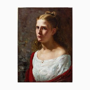 19th-Century Danish School, Portrait of a Woman in a White Dress