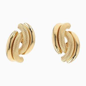 Modern 18K Yellow Gold Second-Hand Earrings, Set of 2
