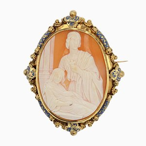 19th Century French Blue Enamel & 18K Yellow Gold Cameo Brooch