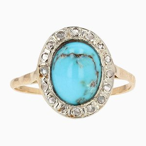 19th Century Turquoise, Diamond, 18K Yellow Gold & Silver Oval Ring