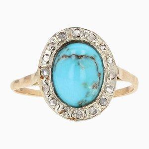 Ovaler Ring aus Türkis, Diamant, 18 Karat Gelbgold und Silber, 19. Jh