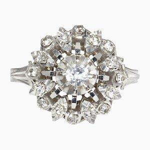 French White Sapphire & 18K White Gold Ring, 1960s