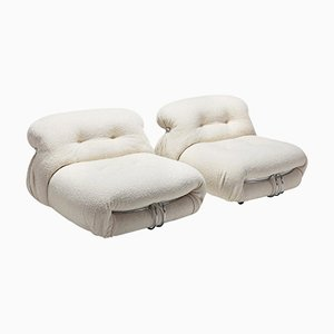 Soriana Lounge Chairs in Bouclé Wool by Afra and Tobia Scarpa for Cassina, Set of 2