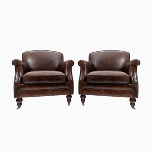 Vintage French Art Deco Leather Armchairs, Set of 2
