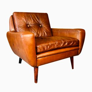 Mid-Century Danish Cognac Leather Lounge Chairs by Svend Skipper, Set of 2