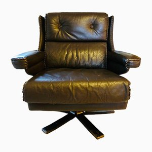 Mid-Century Scandinavian Leather Lounge Chair, 1970s