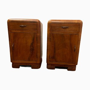 Vintage Rounded Nightstands, 1950s, Set of 2