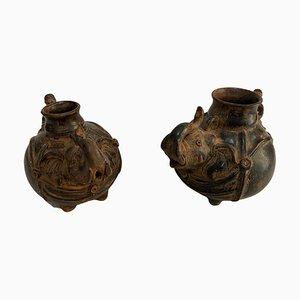 Vasen aus Terrakotta, 20. Jh., 2er Set