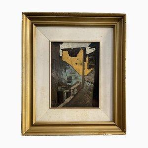 Riccardo Rinaldi, Oil on Panel Depicting Alley of Mountain Village, 20th Century