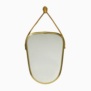 Small Mid-Century Brass Wall Mirror with Woven Rope