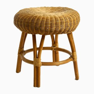 Sgabello con struttura in bambù e seduta in vimini, anni '60