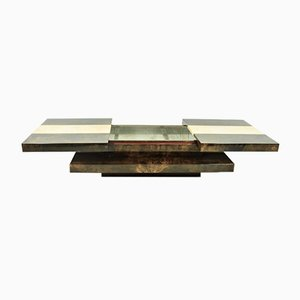 Sliding 2-Tier Coffee Table with Bar by Aldo Tura, 1970s