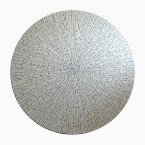 Mesa de centro moderna Mid-Century redonda de cerámica blanca con mosaico de Heinz Lilienthal