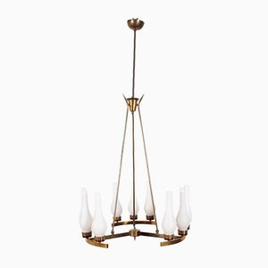Mid-Century Brass and Opaline Glass Chandelier in the Style of Stilnovo, Italy, 1960s