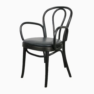 Black Leather No. 18 Chair with Arms by Michael Thonet for Thonet