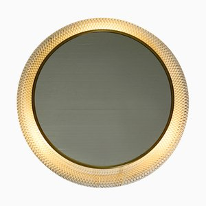 Mid-Century Modern Round Illuminated Wall Mirror with Expanded White Metal Frame