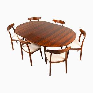 Vintage Danish Rosewood Dining Room Set by Henning Kjærnulf for Bruno Hansen, 1960s, Set of 7