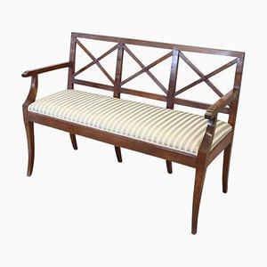 Antique Walnut Bench with Silk Seat, 1790s