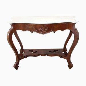Mesa consola antigua de nogal tallado, década de 1850