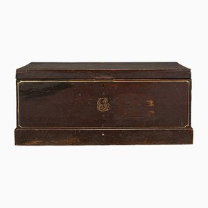 Antique English Victorian Merchant's Tool Chest or Craftsman's Trunk in Pine, 1900
