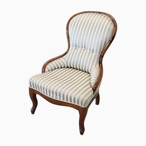 Butaca antigua de nogal con asiento de seda, década de 1850