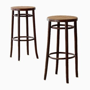 Caned Bar Stools in Bentwood, Set of 2