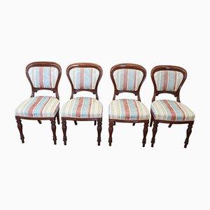 Antike Esszimmerstühle aus geschnitztem Mahagoni, 4er Set