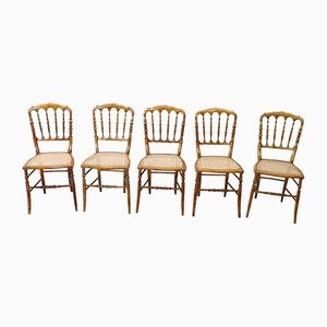 Antike Chiavari Stühle aus gedrehtem Holz, 5er Set