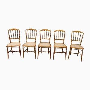 Antique Turned Wood Chiavari Chairs, Set of 5
