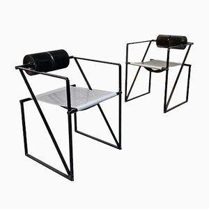 Italienische Mid-Century Seconda Stühle aus schwarzem Metall von Mario Botta für Alias, 1985, 2er Set