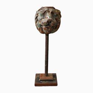 Georgian Cast Iron Lion Mask on Stand