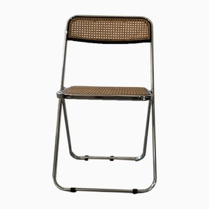 Vintage Cane Plia Folding Chair by Giancarlo Piretti for Castelli, 1960s