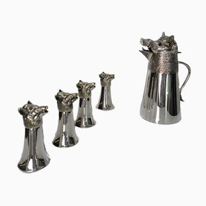 Boar Sculpture Pitcher with Glasses by Valenti, 1950s, Set of 5