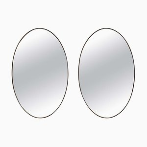 Large Oval Brass Mirror, Set of 2