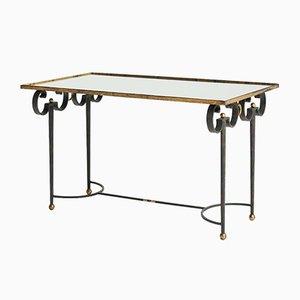 Mesa de centro de hierro forjado dorado, años 40